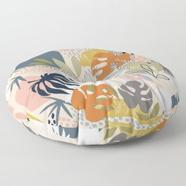 Tropical Foliage Pattern 1 - Retro Boho Floor Pillow