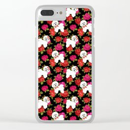 Bichon Frise dogs red rose floral for dog lovers Clear iPhone Case