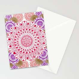 Red, Brown, and Purple Mandala Pattern Stationery Cards
