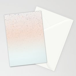Terrazzo Pastel Colors Soft Fading Gradient Peach+Baby Blue Stationery Cards