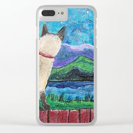 Siamese Cat in the Moonlight Painting Clear iPhone Case