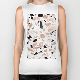 Classy rose gold vintage marble abstract terrazzo design Biker Tank