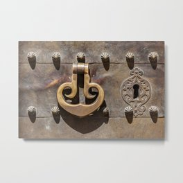 Weathered Brass Castle Knocker of Old World Europe Metal Print