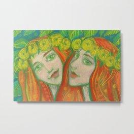Dandelions, Ginger Girls in Flower Crowns, Fantasy Art Metal Print