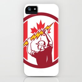 Canadian Electrician Lighting Bolt Canada Flag Icon iPhone Case