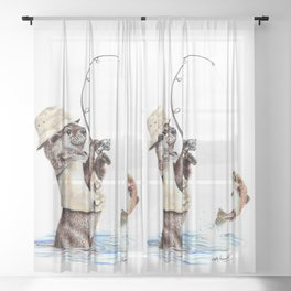 """"""" Natures Fisherman """" fishing river otter with trout Sheer Curtain"""