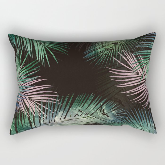 black tropical leaves Rectangular Pillow