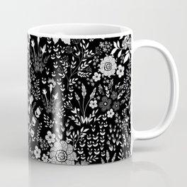 Star Sapphire Floral Celebration White on Black Coffee Mug