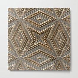 Shimmering Golden Ornamental Engraving Metal Print