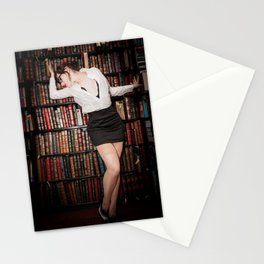 """Hot for Reading"" - The Playful Pinup - Sexy Librarian Pin-up Girl by Maxwell H. Johnson Stationery Cards"