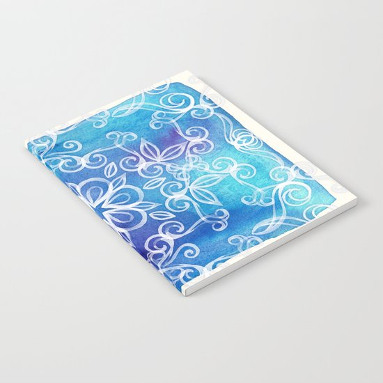 White Floral Painted Pattern on Blue Watercolor Notebook
