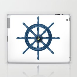 Ship Wheel Blue Rudder Laptop & iPad Skin