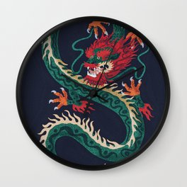 Dragon of Flowers Wall Clock