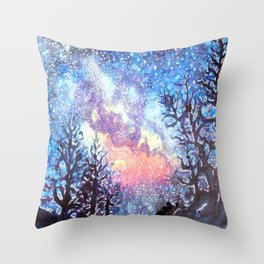Galaxy Spring Night by CheyAnne Sexton Throw Pillow