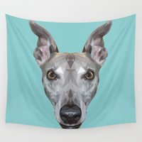 vespa Wall Tapestries featuring Whippet // Blue (Vespa) by peachandguava