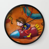 rocket Wall Clocks featuring Rocket by András Balogh