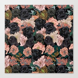 Because Black Pug Canvas Print