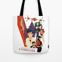 evangelion Tote Bags featuring Evangelion by Collectif PinUp!