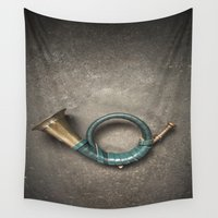 french Wall Tapestries featuring French Horn by Maria Heyens