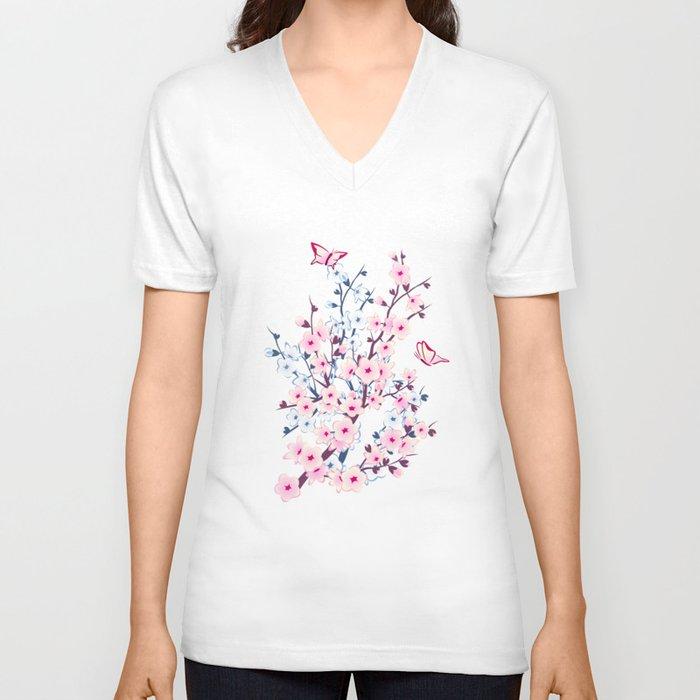 Cherry Blossom Landscape Unisex V-Ausschnitt
