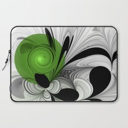 Abstract Black and White with Green Laptop Sleeve