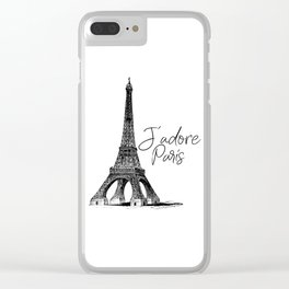 TYPOGRAPHIC ART - J'adore Paris, Paris, Typography Wall Art, Printable Art Clear iPhone Case
