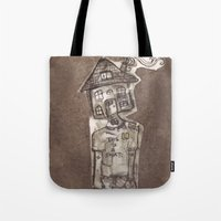 cartoons Tote Bags featuring Saturday Morning Cartoons 1: Homebody by Kayleigh Morin
