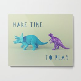 Make Time to Play - Blue and Purple Dino on Green Metal Print