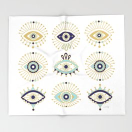Evil Eye Collection on White Throw Blanket