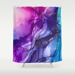 Abstract Vibrant Rainbow Ombre Shower Curtain