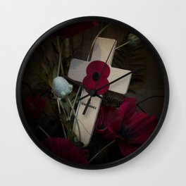 Poppy on the cross Wall Clock