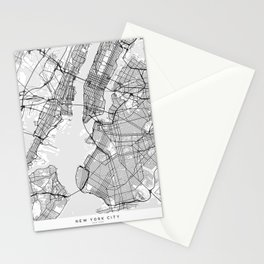 Scandinavian map of New York City in grayscale Stationery Cards