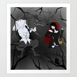 Lil' Red and Big Bad Art Print