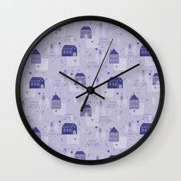 Christmas Village Church House Vector Pattern Wall Clock