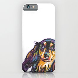 Longhaired Dachshund Fun Dog Portrait bright colorful Pop Art Painting by LEA iPhone Case