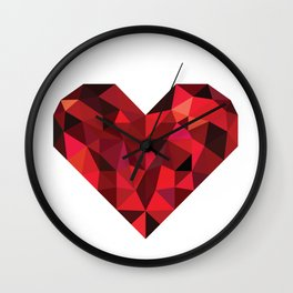 Ruby heart Wall Clock
