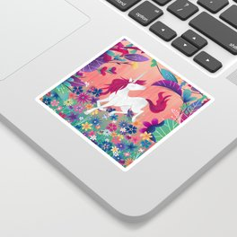 Floral Frolic Unicorn Sticker