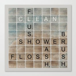 Bathroom 'Scrabble' Letters Canvas Print