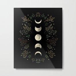 Moonlight Garden - Olive Green Metal Print