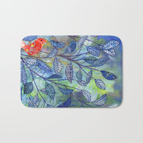 red and blue Bath Mat