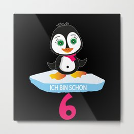6 Year Old Birthday Girl Penguin Penguin Metal Print