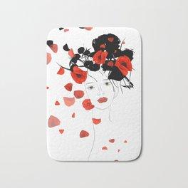 girl poppy red Bath Mat