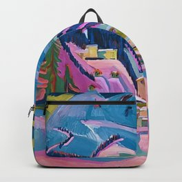 Davos, Swiss Alps in Winter Mountain Landscape by Ernst Ludwig Kirchner Backpack