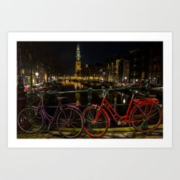 Amsterdam Bikes and Canal at Night Art Print
