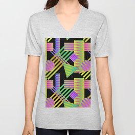 Neon Ombre 90's Striped Shapes Unisex V-Neck