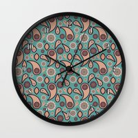 paisley Wall Clocks featuring Paisley by Lisi Fkz