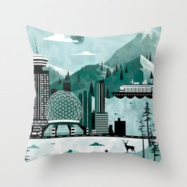 Vancouver Travel Poster Illustration Throw Pillow