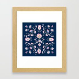 Folk Flowers in Pink and Indigo Framed Art Print