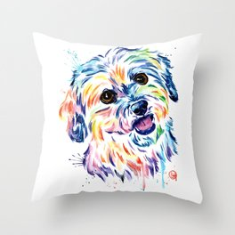 Shih Tzu Colorful Watercolor Pet Portrait Painting Throw Pillow