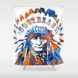 Southeast Native American Logo Design by Sharon Cummings Shower Curtain